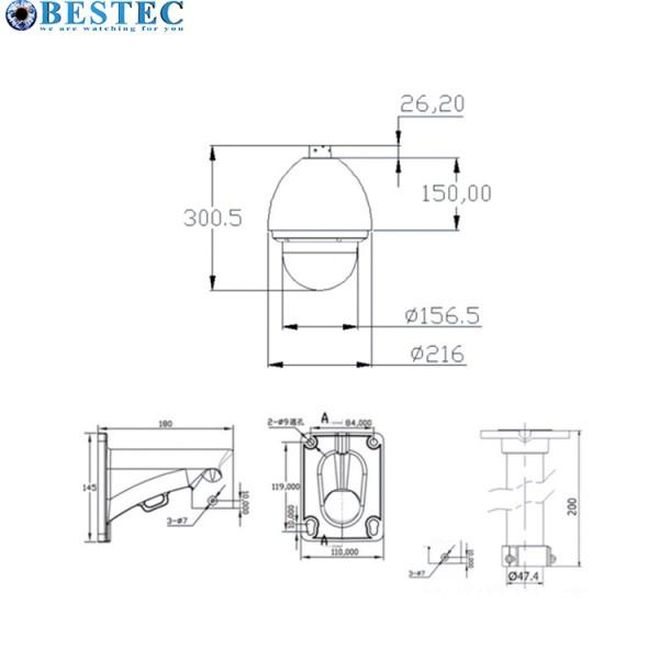 7-Zoll-IP-PTZ-Kamera für den Außenbereich Model:SMT-NH605-200